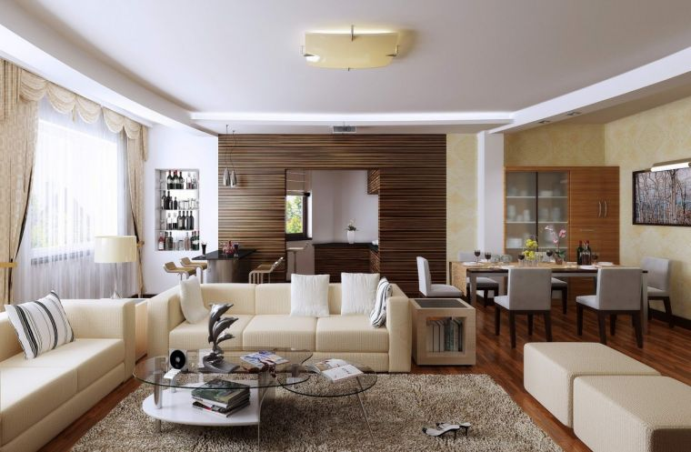 Совмещенные гостиные - стильные идеи и лучшие сочетания стилей для совмещенных гостиных комнат (105 фото)