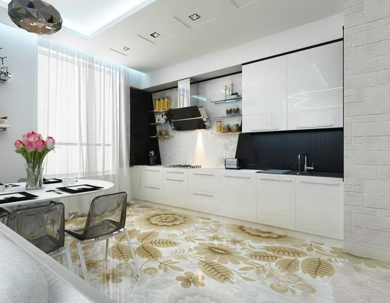 Пол на кухне - интересные варианты применения современных видов напольного покрытия (95 фото)