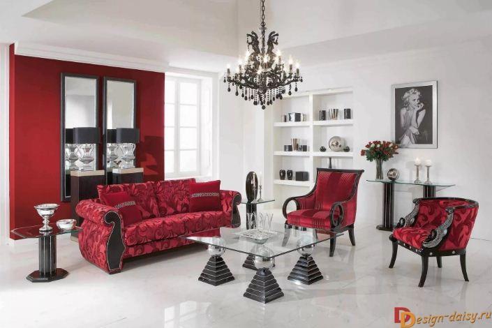 Красный цвет в оформлении интерьера